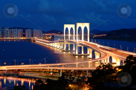 Night of bridge stock photo, The night scenery of bridge in Macau by Tito Wong