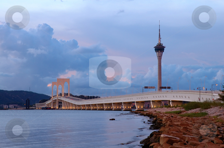 Bridge and tower stock photo, The picture of bridge and tower of Macau by Tito Wong