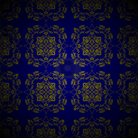 Golden blue link floral stock vector clipart, Royal blue and gold seamless repeating design with floral elements by Michael Travers