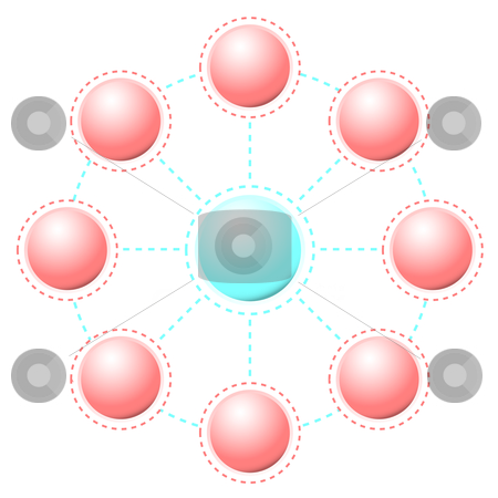 Connections stock vector clipart, Business connections with round circles and dotted lines by Michael Travers