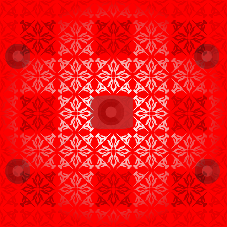 Red square gradient stock vector clipart, Shades of red square background with floral elements by Michael Travers