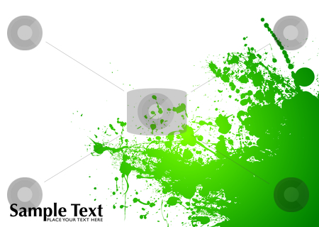 Green splat grunge stock vector clipart, Green and white ink splat background with room to add copy by Michael Travers