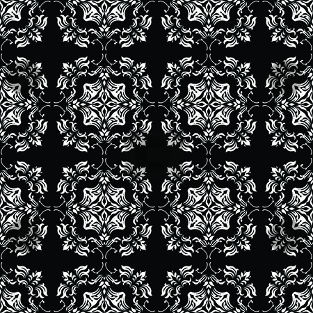 Mono link floral stock vector clipart, Black and white floral seamless design background pattern by Michael Travers