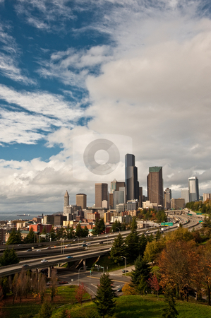 Downtown6 stock photo, Panorama view of downtown Seattle skyline by Jack Young