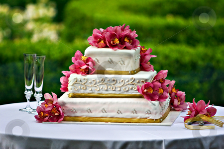Wedding cake stock photo, A decorated wedding cake by Jack Young