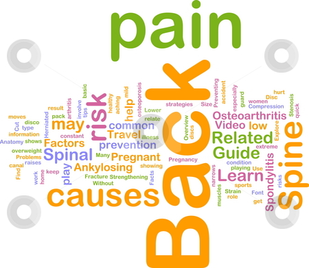 Back pain word cloud stock photo, Word cloud concept illustration of  back pain by Kheng Guan Toh