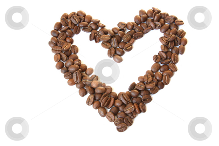 Heart shaped coffee beans stock photo, Heart shaped coffee beans. Isolated on white by Olga Lipatova