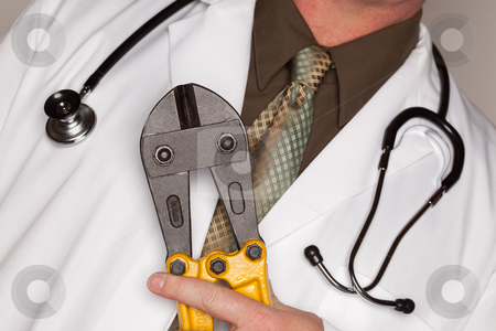 Doctor with Stethoscope Holding A Cable Cutters stock photo, Doctor with Stethoscope Holding A Pair of Cable Cutters. by Andy Dean