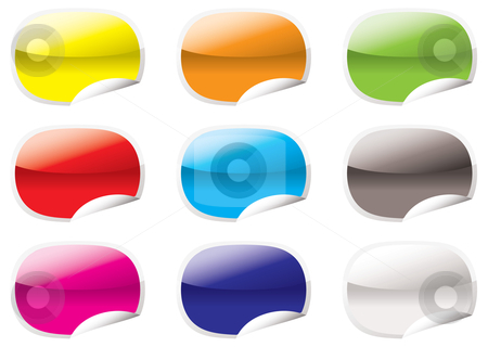 Oval peel corner stock vector clipart, Nine oval shaped icons with the corner curled up by Michael Travers