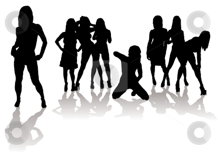 Sexy silhouette women stock vector clipart, Collection of sexy women in silhouette with black figures and shadow by Michael Travers