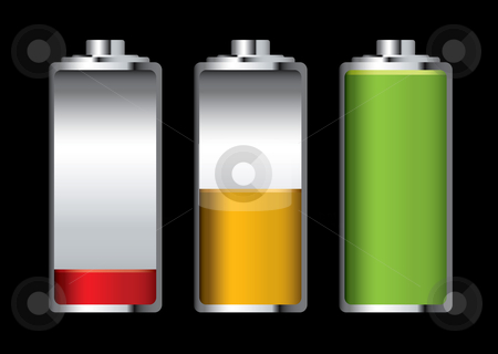 Battery charge stock vector clipart, Three batteries with different levels of charge and black background by Michael Travers
