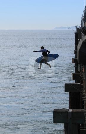 Surfer stock photo, VENTURA, CA, USA - January 10, 2010 - Surfer having fun throughout a high surf event January 10, 2010 in Ventura, CA by Henrik Lehnerer