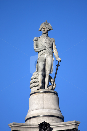 Nelson stock photo, Close up of the statue of Admiral Nelson on top of Nelson''s Column, Trafalgar Square, London England by Darren Pattterson