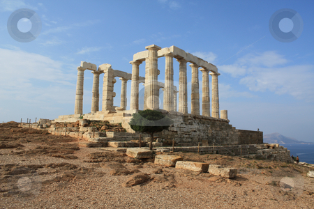 Poseidon Temple stock photo, Remains of Temple of Poseidon, god of the sea, at Cape Sounion near Athens, Greece. by Brigida Soriano