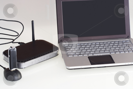 Netbook with router modem 3G stock photo,  by Gianni Furlan
