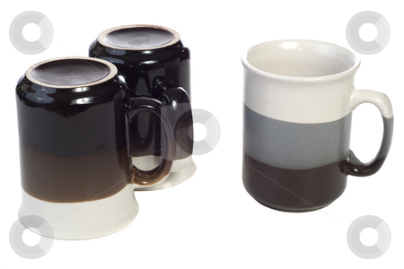 Three Coffee Cups stock photo, Three coffee cups with nothing in them, isolated against a white background by Richard Nelson