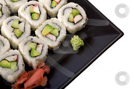Sushi platter stock photo, Sushi closeup by Barna Tanko