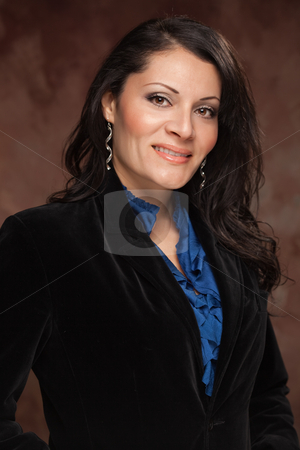 Attractive Hispanic Woman Studio Portrait stock photo, Attractive Hispanic Woman Poses for an Inside Studio Portrait. by Andy Dean