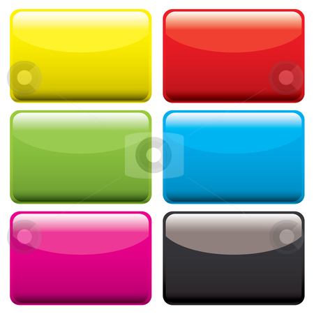 Plastic oblong blank stock vector clipart, Six gel filled oblong icons with beveled edge and room to add text by Michael Travers