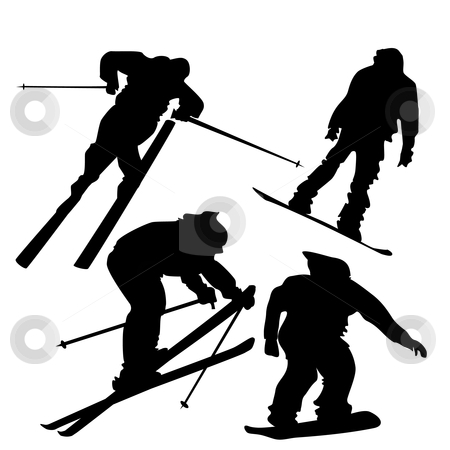Skiers and Snowboarders Silhouettes stock vector clipart, 4 silhouettes of skiers and snowboarders in action. by Linnea Eriksson