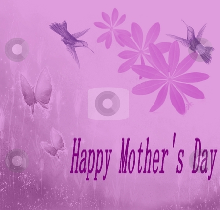 Mother's day Card stock photo, Humreetingming birds and butterflies surround this mothers day g by CHERYL LAFOND