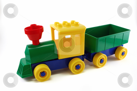 Plastic Toy train stock photo, Toy train made with plastic building blocks on railway by ALESSANDRO TERMIGNONE
