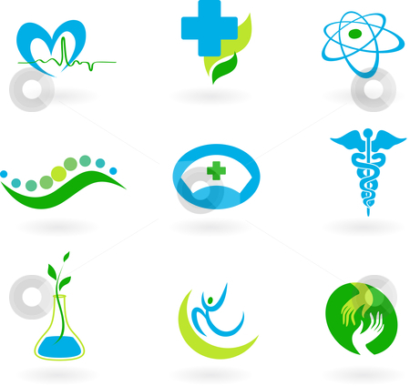 Collection of medical icons stock vector clipart, A set of icons - health and medicine theme by Marina Zlochin