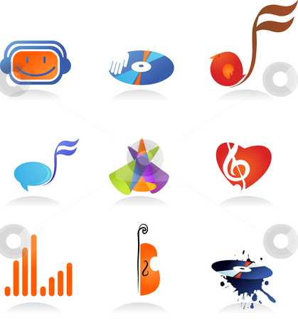 Collection of music icons stock vector clipart, A set of music related icons and symbols by Marina Zlochin