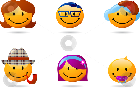 Collection of original cute smileys  stock vector clipart, Funny smilies' set with faces of all ages by Marina Zlochin