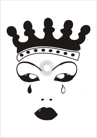 Crying Queen stock vector clipart, Face of an evil queen with crown and tears. by xiphor