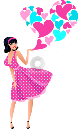 Cute girl in a pink dress stock vector clipart, Romantic girl image in fifties style for Valentine day by Marina Zlochin