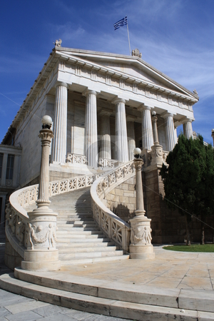 National Library of Athens stock photo, National Library of Athens, neoclassical building, Greece. by Brigida Soriano