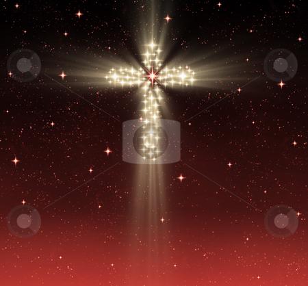 Christian cross in stars stock photo, Great glowing christian cross in starry night sky by Phil Morley