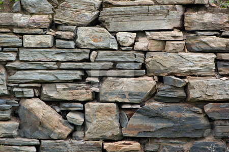 Old stone wall stock photo, Great image of an old dry stone wall by Phil Morley