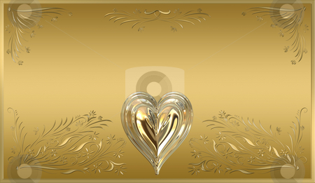 Gold plaque stock photo, Beautiful victorian style valentines plaque in ornate gold by Phil Morley