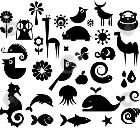 Collection of nature icons stock vector clipart, A set of black and white silhouette of birds, animals and flowers by Marina Zlochin