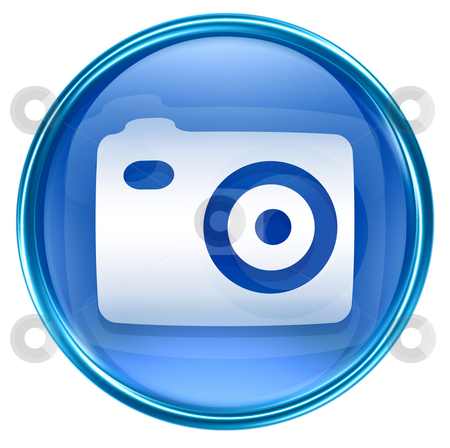 Camera icon blue, isolated on white background stock photo, Camera icon blue, isolated on white background by Andrey Zyk