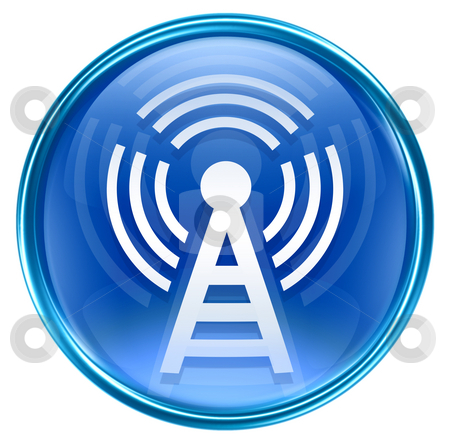 WI-FI tower icon blue, isolated on white background stock photo, WI-FI tower icon blue, isolated on white background by Andrey Zyk