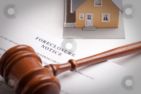 Foreclosure Notice, Gavel and Home stock photo, Foreclosure Notice, Gavel and Model Home with Selective Focus. by Andy Dean
