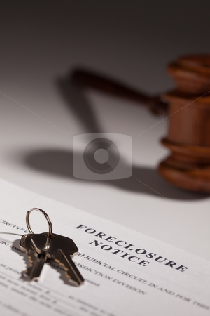 Foreclosure Notice, Gavel and House Keys stock photo, Foreclosure Notice, Gavel and House Keys on Gradated Background with Selective Focus. by Andy Dean