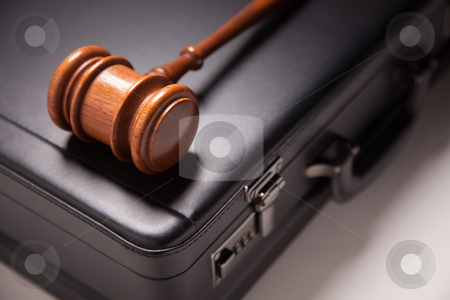 Gavel and Black Briefcase stock photo, Gavel and Black Briefcase on Gradated Background with Selective Focus - Business Law Concept. by Andy Dean