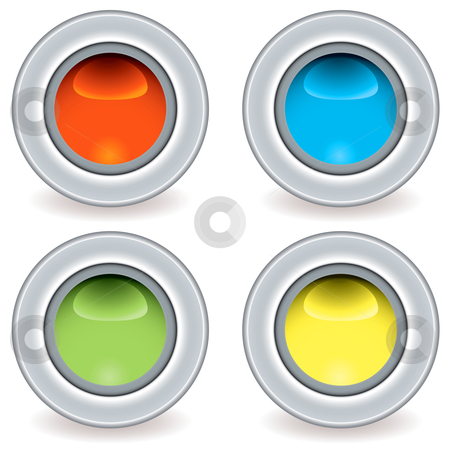 Gel plastic icon small stock vector clipart, Collection of four brightly coloured icon buttons ideal for web applications by Michael Travers