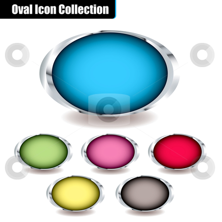 Oval collection stock vector clipart, Collection of oval icons with colorful centers and metal bevels and drop shadow ideal for placing your own text on by Michael Travers