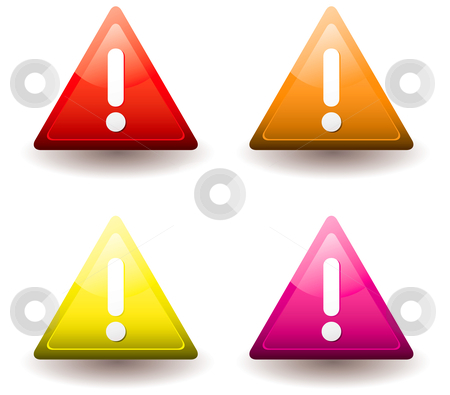 Warning triangle stock vector clipart, Four warning triangles with drop shadow and exclamation mark by Michael Travers