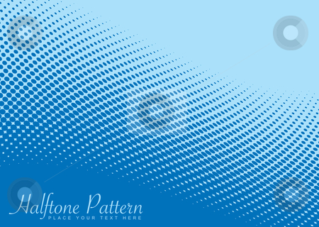 Blue wave halftone pattern stock vector clipart, Shades of blue halftone background with ocean wave effect by Michael Travers