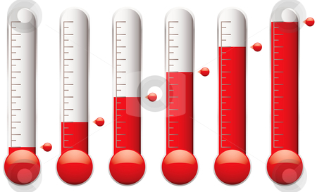 Thermometer set stock vector clipart, Set of thermometers with different levels of indicator fluid by Michael Travers
