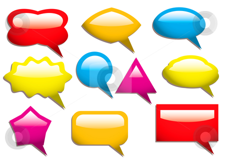 Speech bubbles solid stock vector clipart, Collection of speech bubbles in primary colours and light reflection by Michael Travers