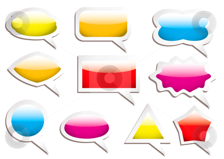 Speech bubbles stock vector clipart, Brightly colored gel filled speech bubbles with drop shadow by Michael Travers