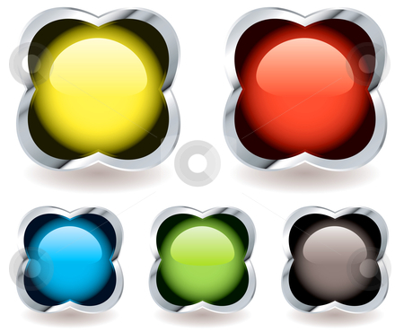 Gel marble icon stock vector clipart, Collection of five round ball icons in a silver bevel shape with drop shadow by Michael Travers