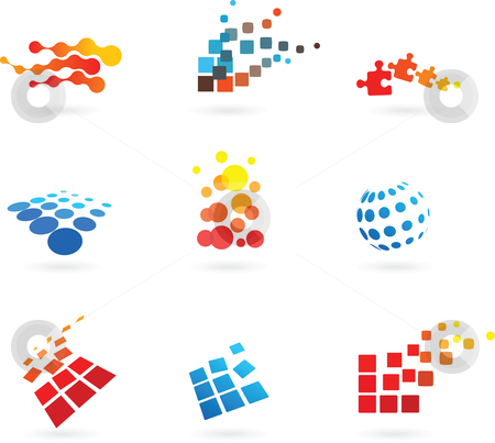 Set of  abstract vector icons stock vector clipart, Collection of vector modern abstract dotted design elements by Marina Zlochin